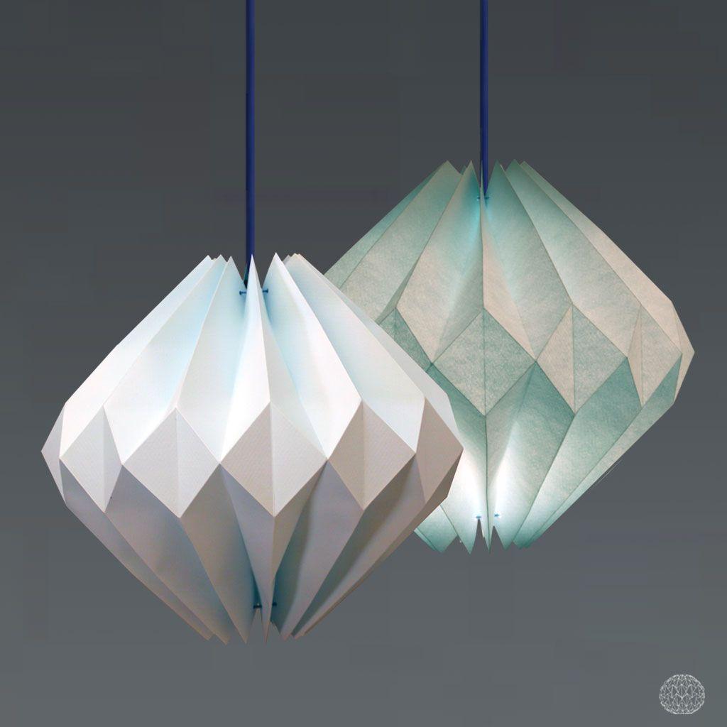 Blue Diamond Origami Lamp