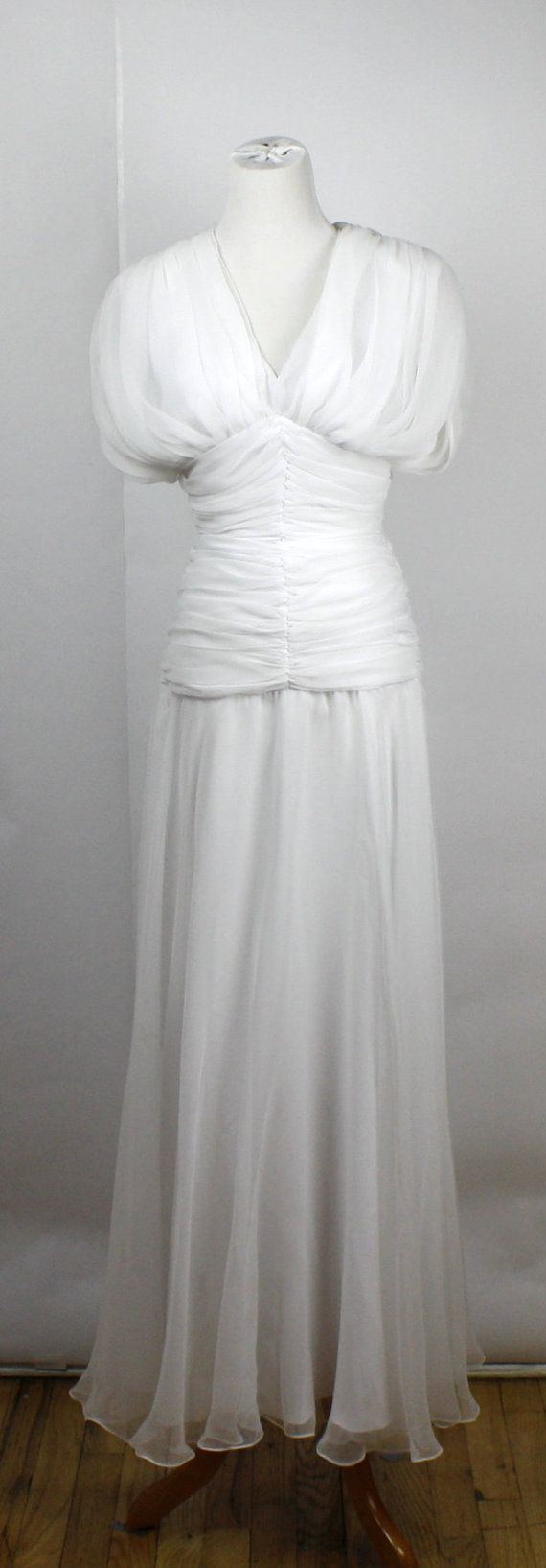 80s white Tadashi dress / 1980s evening gown / Great Gatsby style ...