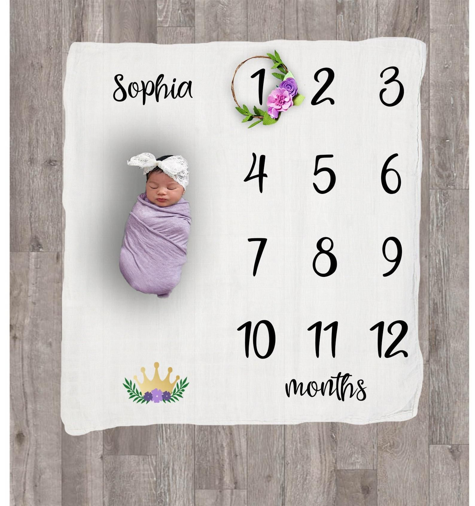 Baby Gift Personalized Pink Purple Floral Baby Girl Milestone Blanket Baby Month Blanket Swaddle Blanket Baby Month Growth Tracker