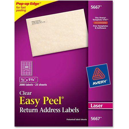 Avery Matte Clear Easy Peel Return Address Labels, Laser, 1
