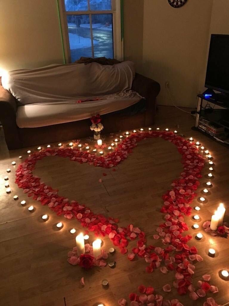 Romantic Heart On The Floor Made With Candles And Rose Petals Romanticidea Romantic Valentines Day Ideas Birthday Surprise Boyfriend Romantic Room Decoration