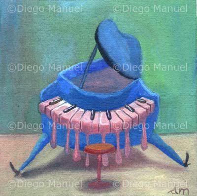 Pianito Azul Acrylic On Canvas 14 X 14 Cm 2009 By Diego