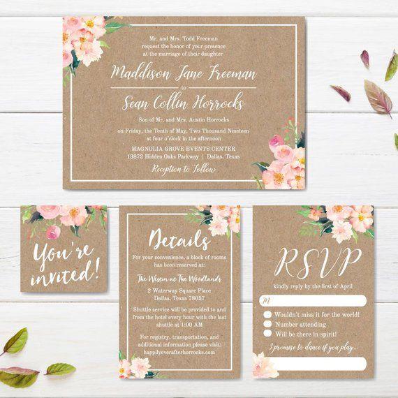 Print Your Own Wedding Invitations Templates: Kraft Blush Floral Wedding Invite Suite, Online Wedding