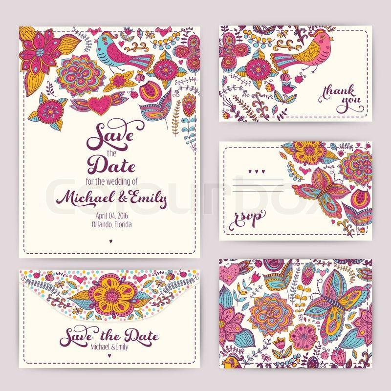 Stock Vektor Von U0027Druckbare Hochzeit Einladung Vorlage: Einladung,  Umschlag, Dankeschön