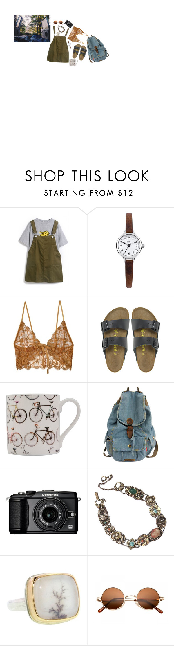 """""""at the end of the day..."""" by greenisthenewgirl ❤ liked on Polyvore featuring Retrò, Oasis, For Love & Lemons, Birkenstock, Ella Doran, Olympus and Jamie Joseph"""