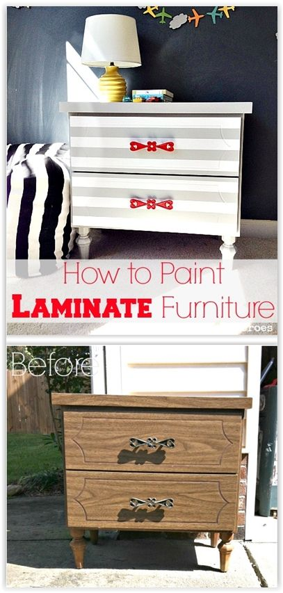 How To Spray Paint Laminate Furniture As Long As You Rough The Surface Up A Painting Laminate Furniture Laminate Furniture Makeover Painting Old Furniture