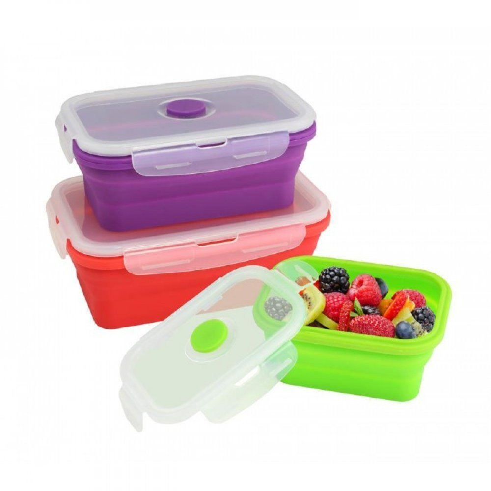 Cucina Vita Knife Set Silicone Stacker Food Container Set Of 3 Fill Snap Stack And