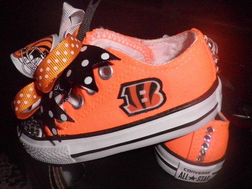 low priced 1648c 9e05e Converse Custom Cincinnati Bengals Orange Size 4 Infant ...