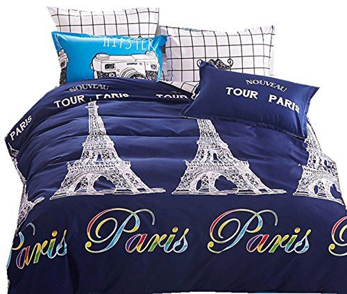 Queen Duvet Cover Paris Bedding, Travel Themed Twin Bedding