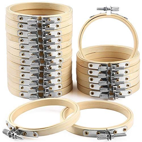 Caydo 20 Pieces 3 Inch Bamboo Embroidery Hoops Round Wooden Circle Cross Stitch Hoop Round