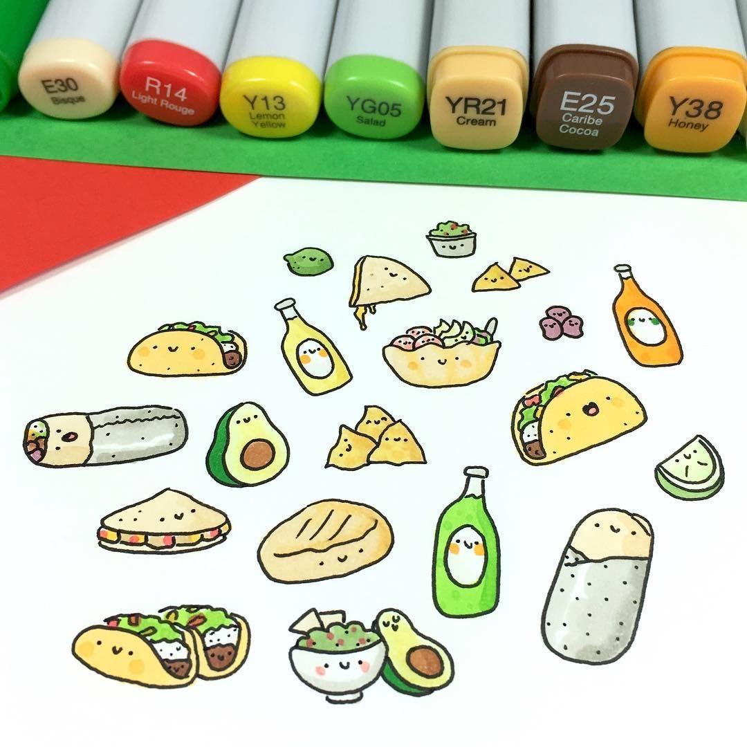 "✏️ KiraKira ✨ on Instagram: ""It's taco-time! 🌮😋🌮 • • • #kawaii #tacos #taco #burrito #avocado #doodle #guacamole #mexicanfood #sketchbook #copicmarkers #copicsketch…"""
