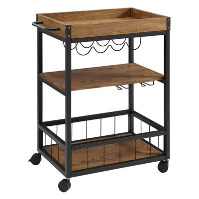 Linon 26-in Black Metal and Rustic Wood Kitchen and Bar Cart