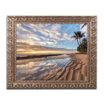 "Trademark Art ""Kauai Kailani Sunrise"" by Pierre Leclerc Framed Photographic Print Size: 11"" H x 14"" W x 0.5"" D"