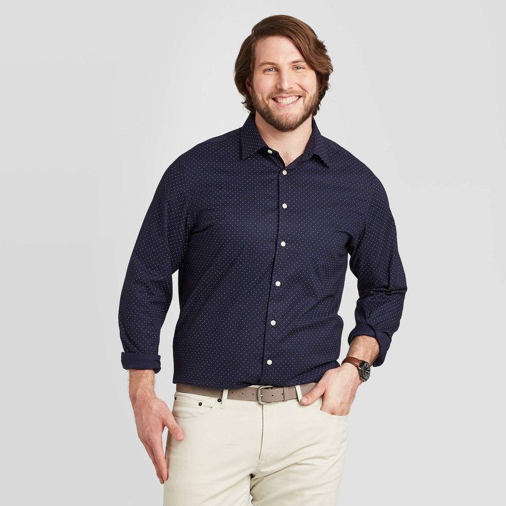 Men S Tall Polka Dot Standard Fit Long Sleeve Button Down Dress Shirt Goodfellow Co Navy Lt Men S Light Shirts Long Sleeve Fitted Dress Mens Big And Tall [ 1000 x 1000 Pixel ]