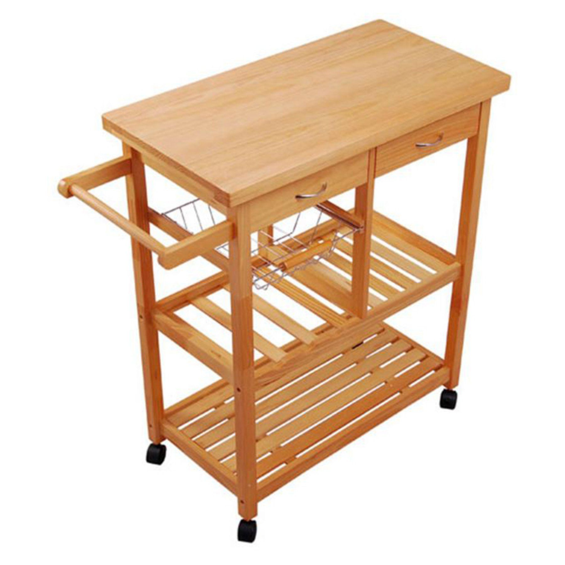 Homcom Portable Wooden Rolling Storage Cart Kitchen Trolley With Drawers Wooden Kitchen Kitchen Design Diy