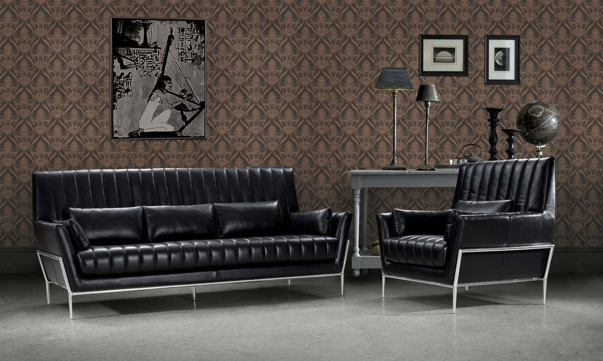 Divani Casa 0721 - Luxury Black Leather Sofa Set | Black leather ...