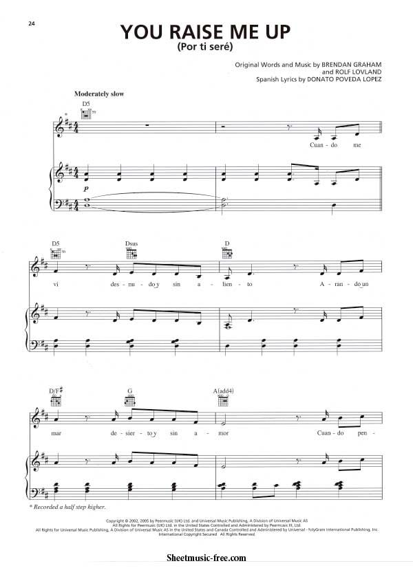 You Raise Me Up Sheet Music Il Divo Version With Images Sheet