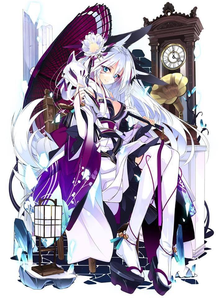 Anime White Kitsune Anime kitsune girl/wom...