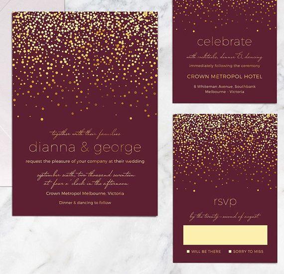 Printable Wedding Invitation Set Navy Gold Confetti Wedding