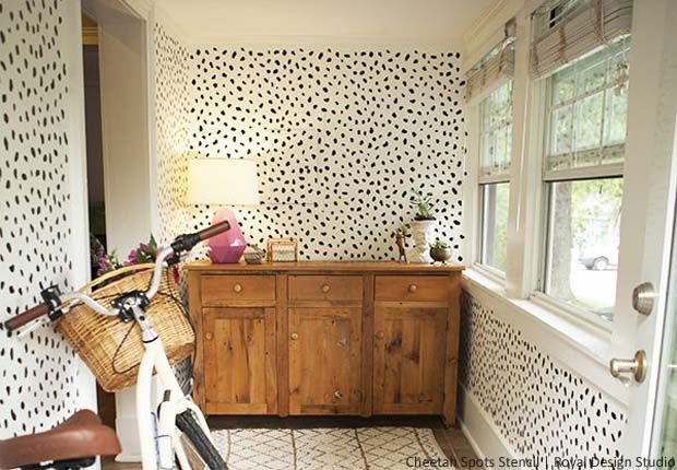 See how Lana & Joey gave a whimsical upgrade to their otherwise boring mud-room, using our Cheetah Spots Stencil. Also get a few pro-tips on stenciling!