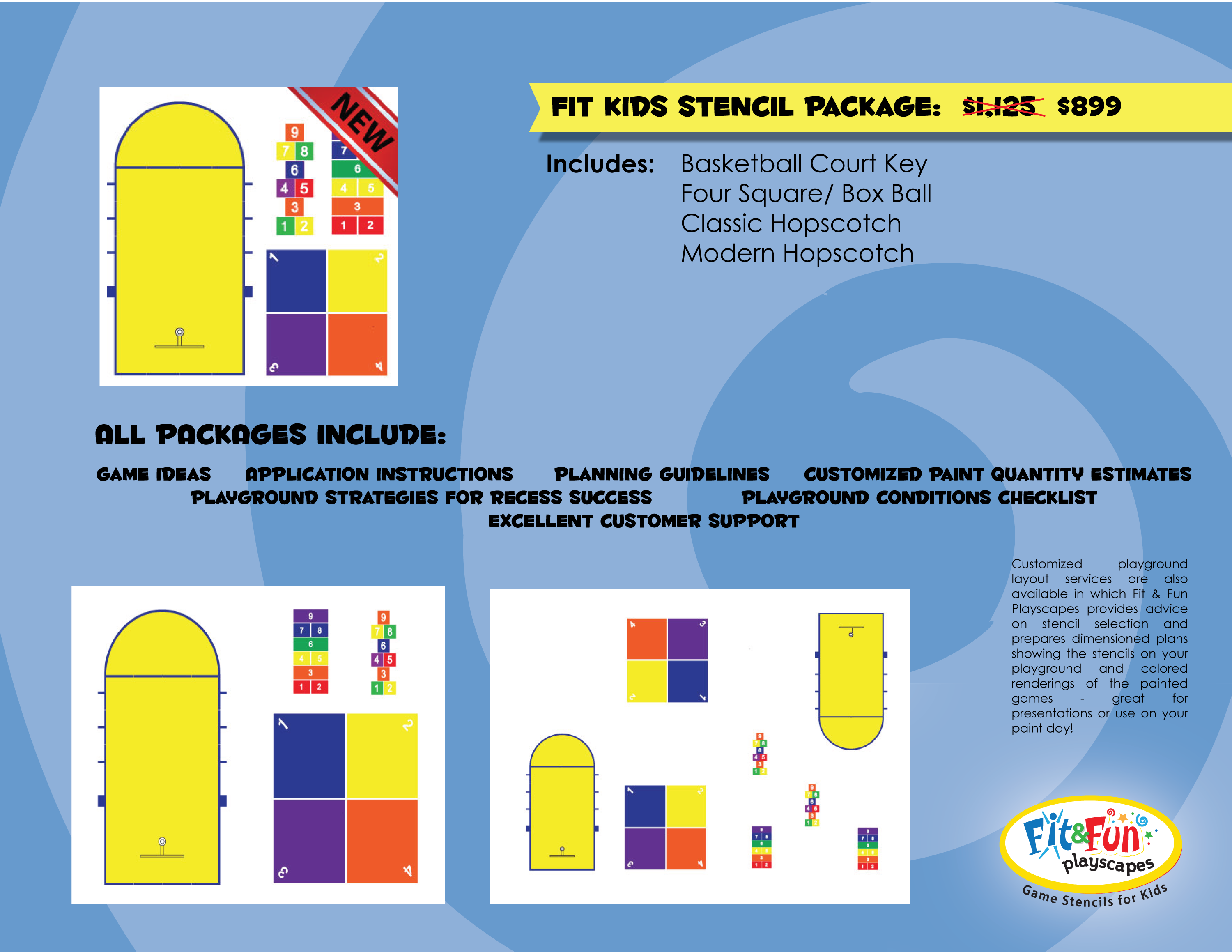 Fit Kids Stencil Package 720 and includes reusable stencils