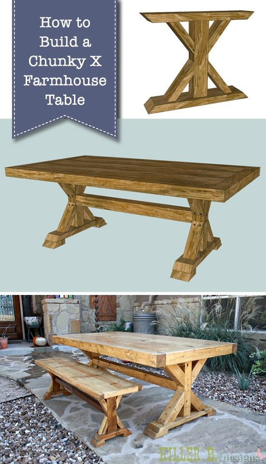 How to Build a Chunky X Farmhouse Table images