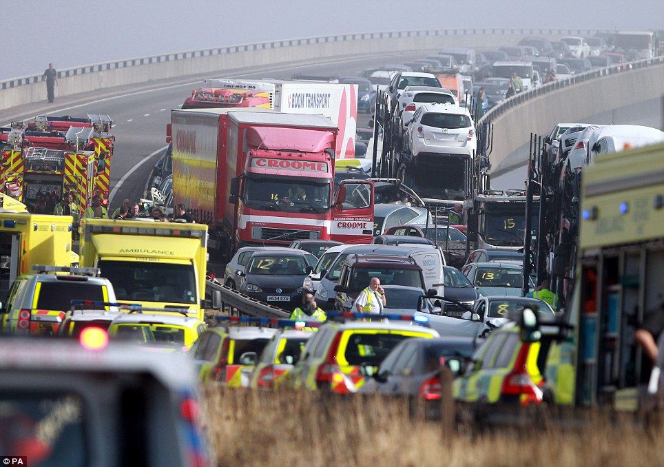 More than 100 vehicles involved in a pileup after misty