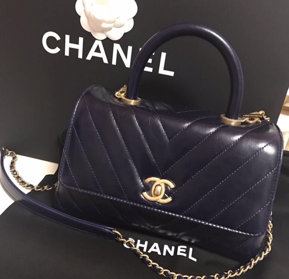 a75200558044 CHANEL Navy Blue Chevron Coco Handle with Gold Hardware. | Coco ...