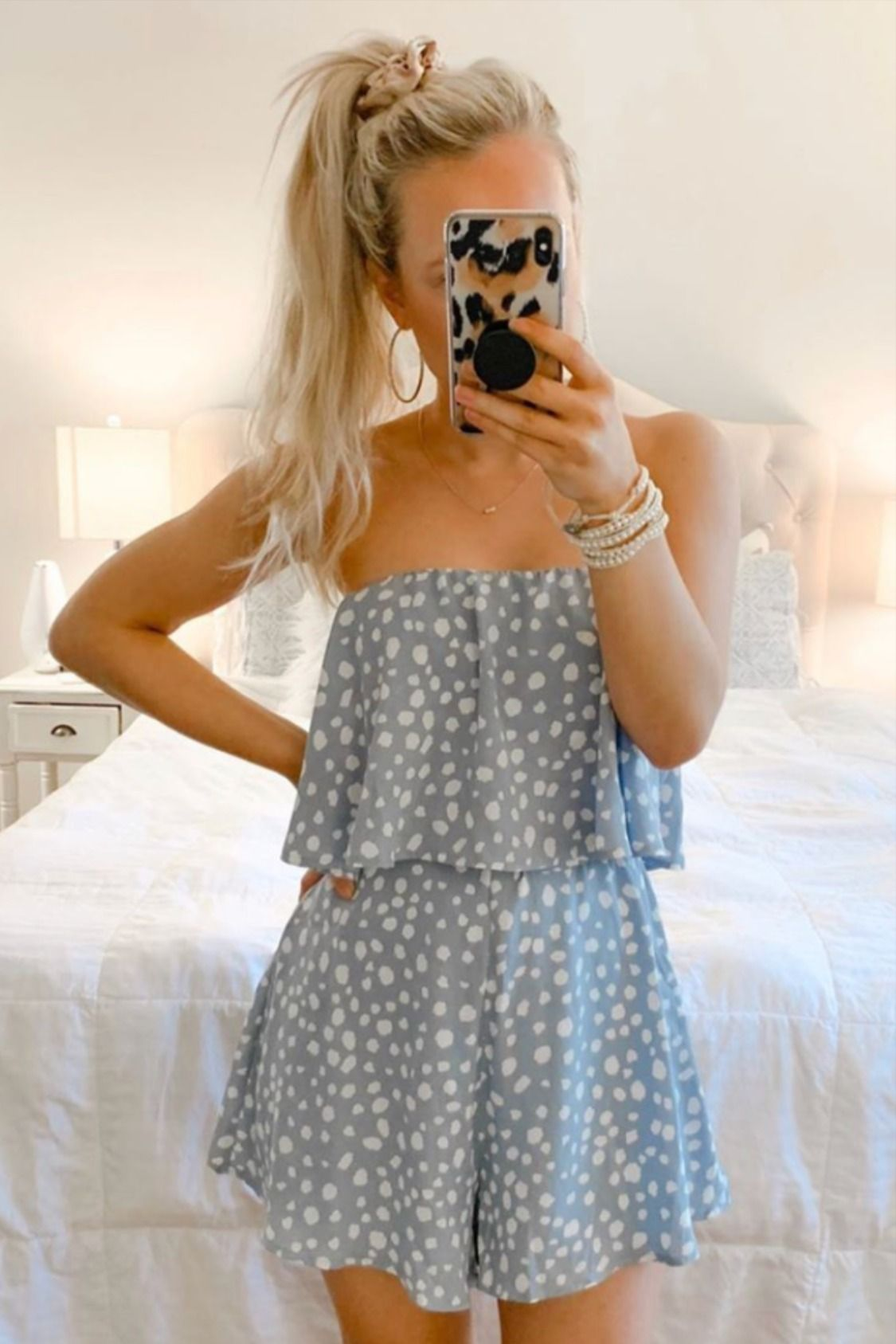 Happy Times Blue Printed Romper