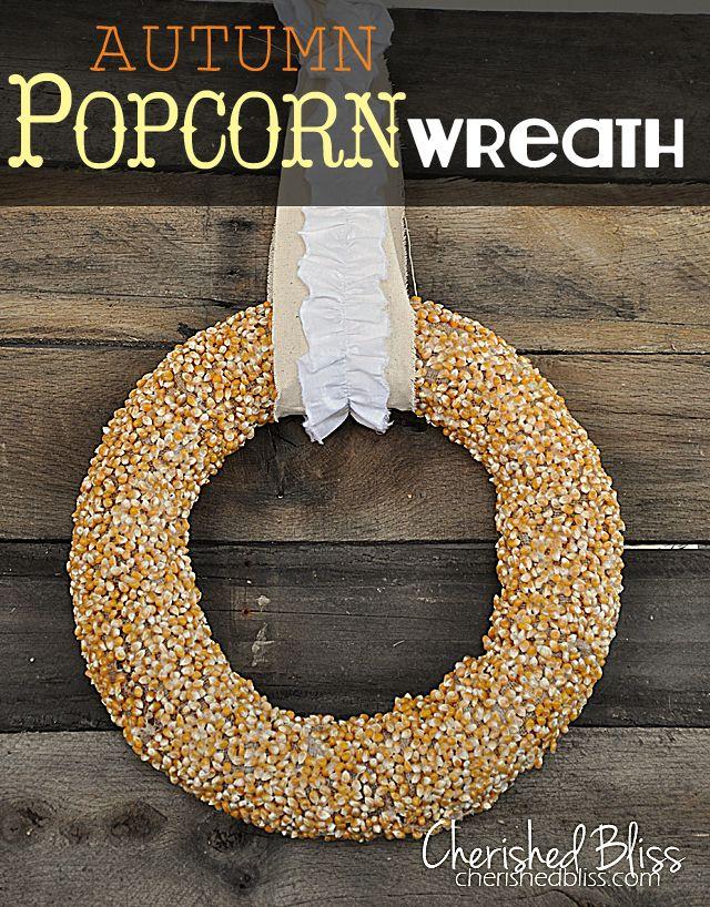 Autumn popcorn wreath....simple.cute!