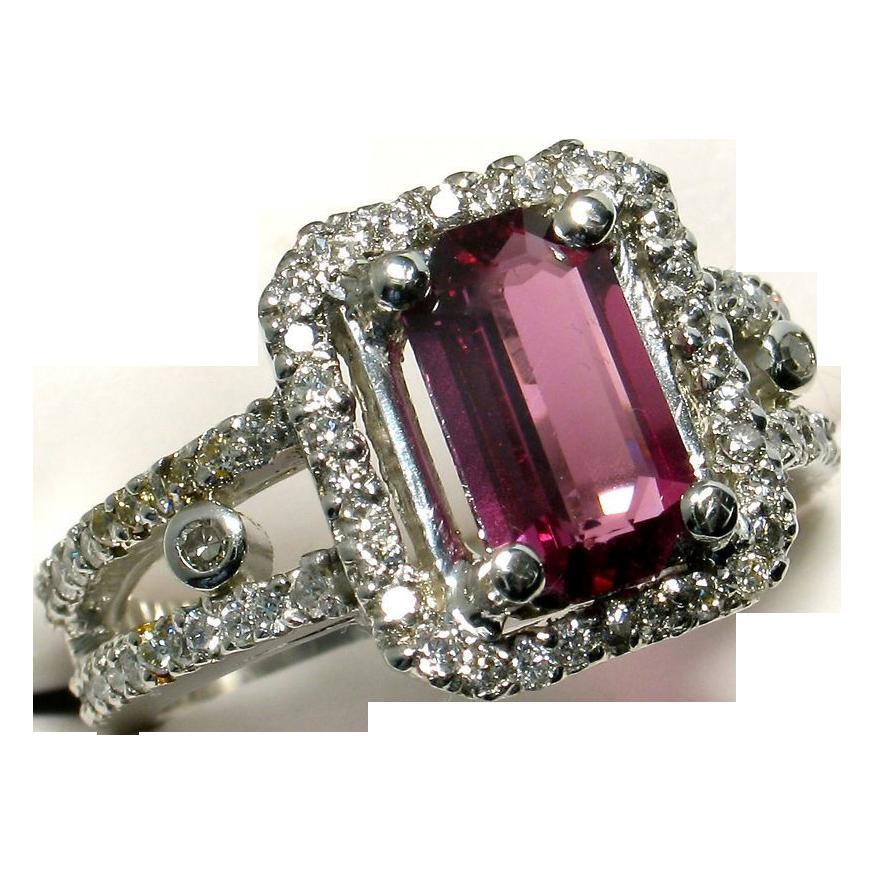 Purplish Red Spinel & Diamond Platinum Ring - Designer Signed