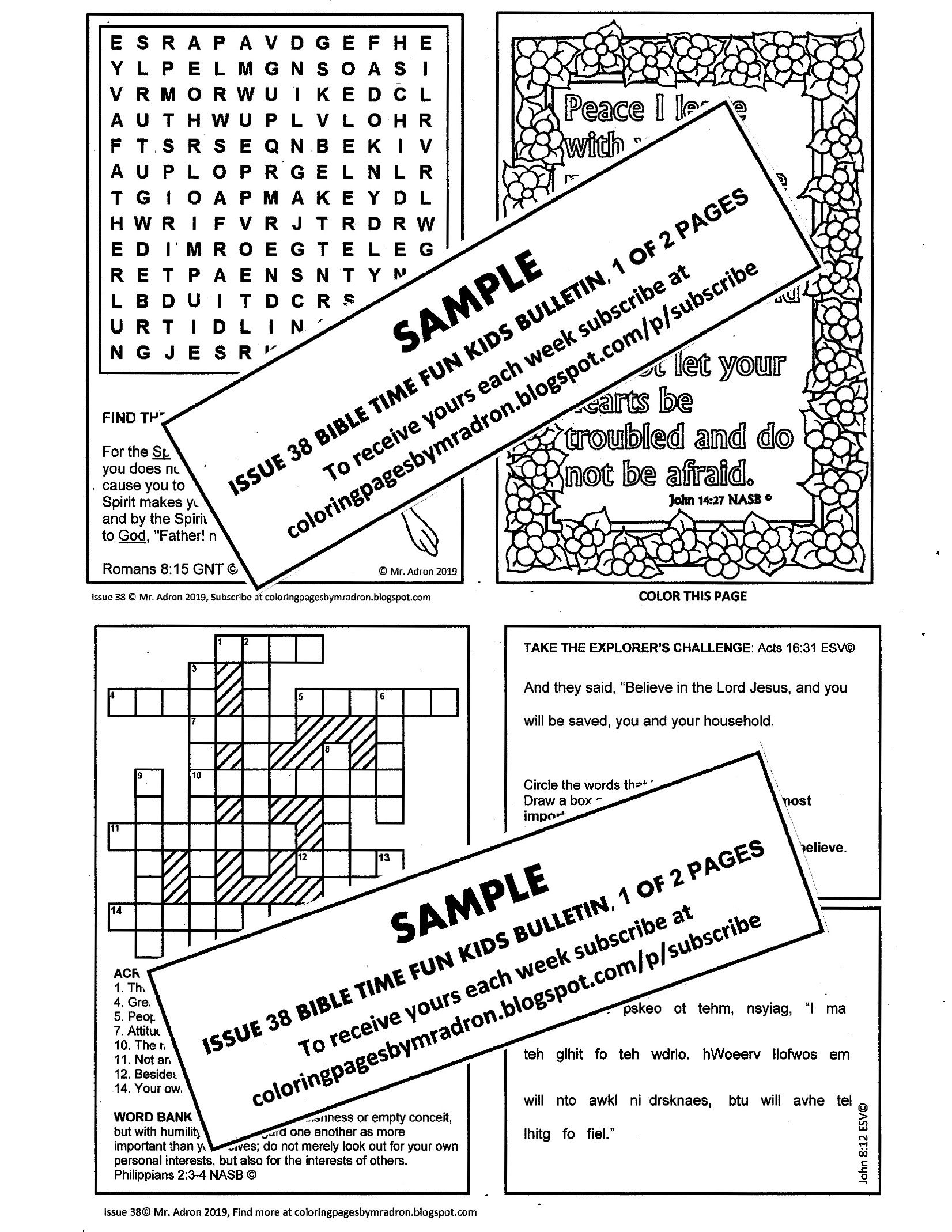 Issue 38 Of Bible Fun Time Printable For Kids It Has 5