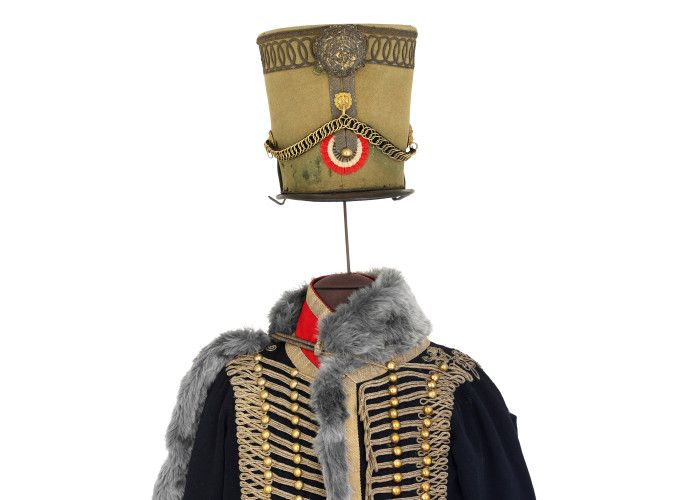 Waterloo200 - French officers uniform. This pelisse, gilet and dolman, made of superfine wool cloth, with gold metal lace and buttons, belonged to Colonel Marbot of the 7eme Hussars. http://www.nam.ac.uk/waterloo200/200-object/french-officers-uniform-col-marbots-uniform/ #W200Items