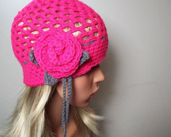 Kinder-Mädchen-Wolle-Winter-Häkelmütze-Beanie-Blume-Rose-Pink ...