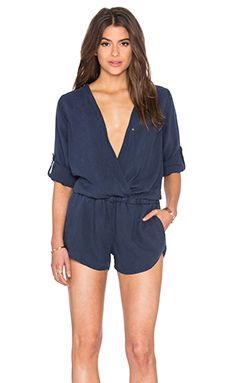 87374760c64 Bella Dahl Cross Front Romper in Navy Haze