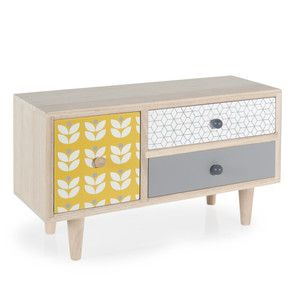 Boîte 3 tiroirs en bois H 17 cm YELLOW SUMMER