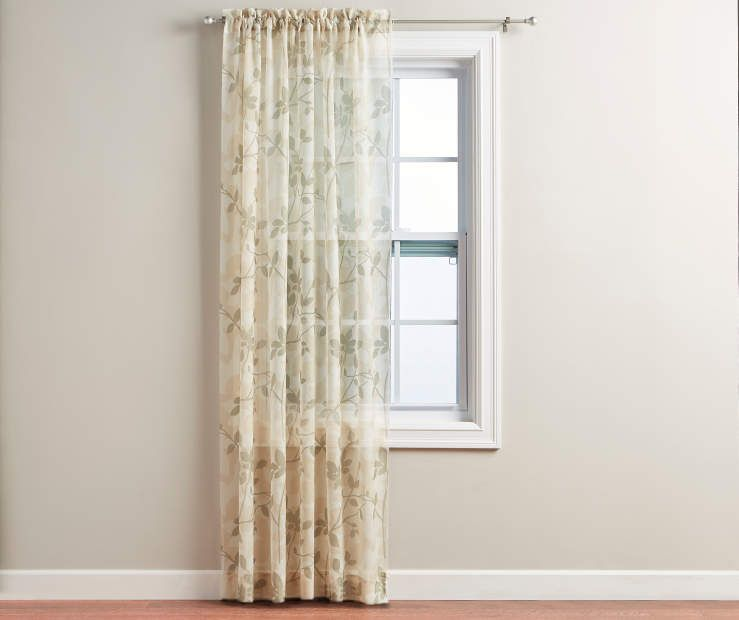 Leaf Crushed Voile Sheer Curtain Panel 84 At Big Lots Panel