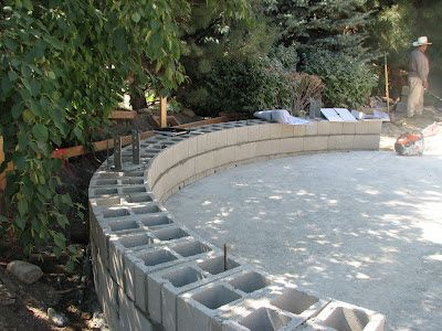 Curved Cinder Blocks Google Search In 2020 Cinder Block Garden Wall Cinder Block Garden Terraced Patio Ideas