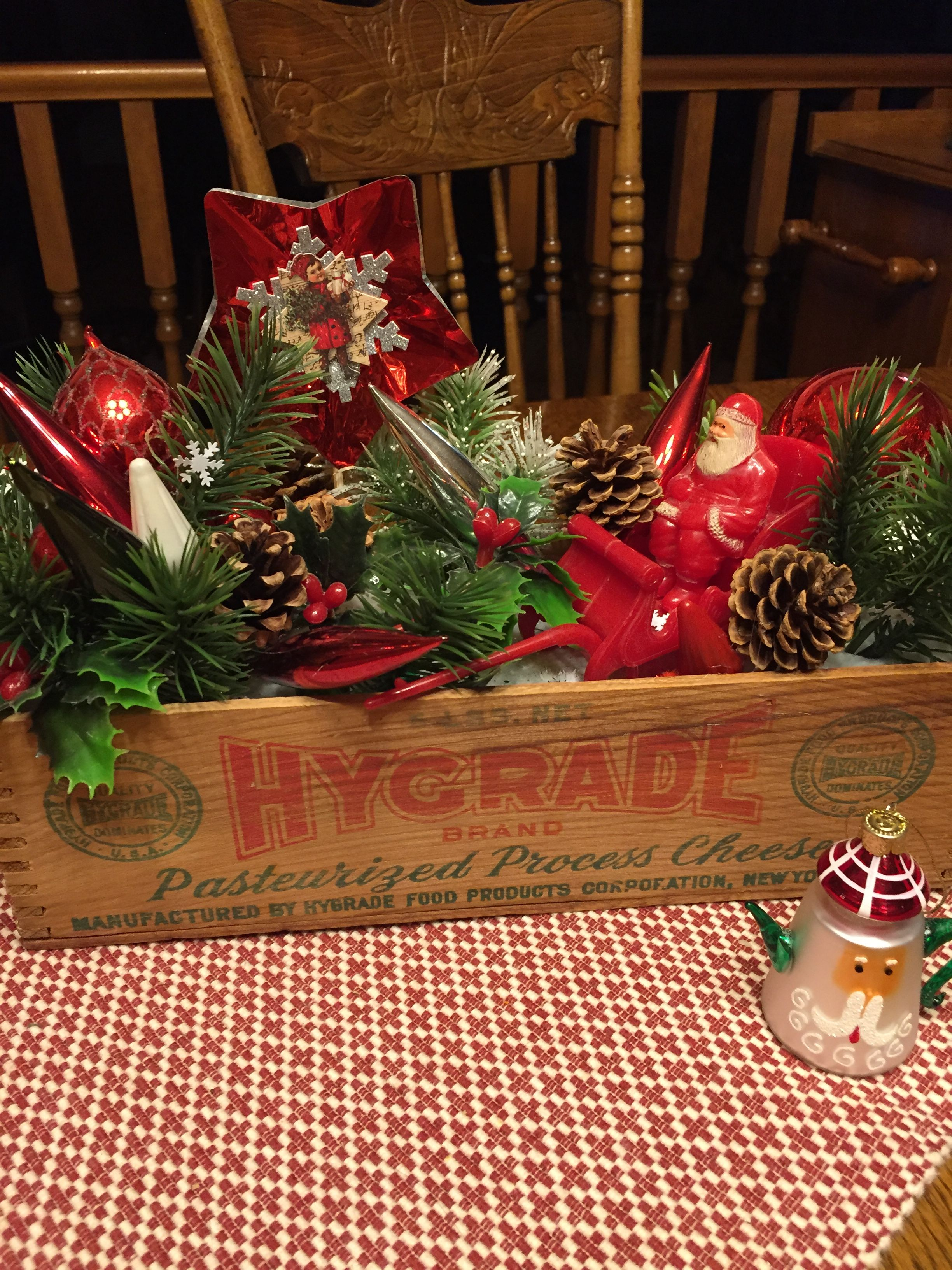 Old Cheese Box Filled With Vintage Christmas Decorations Makes A Great Table Display Vintage Christmas Vintage Christmas Decorations Christmas Table Settings