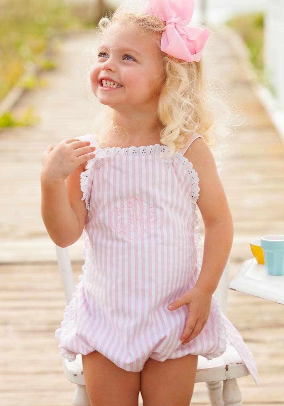 160af643e pink stripe julia bubble eyelet summer matching romper bow | Baby ...
