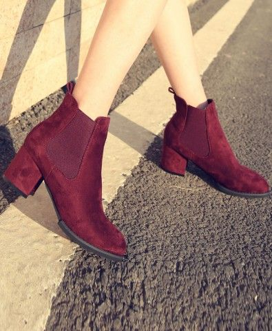 Chunky Heeled Nubuck Leather Ankle Boots