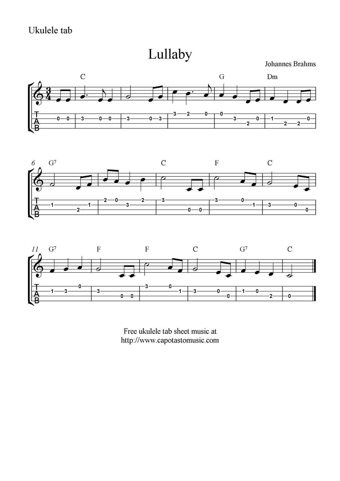 Lullaby by brahms ukulele sheet music free printable lullaby by brahms ukulele sheet music free printable hexwebz Gallery
