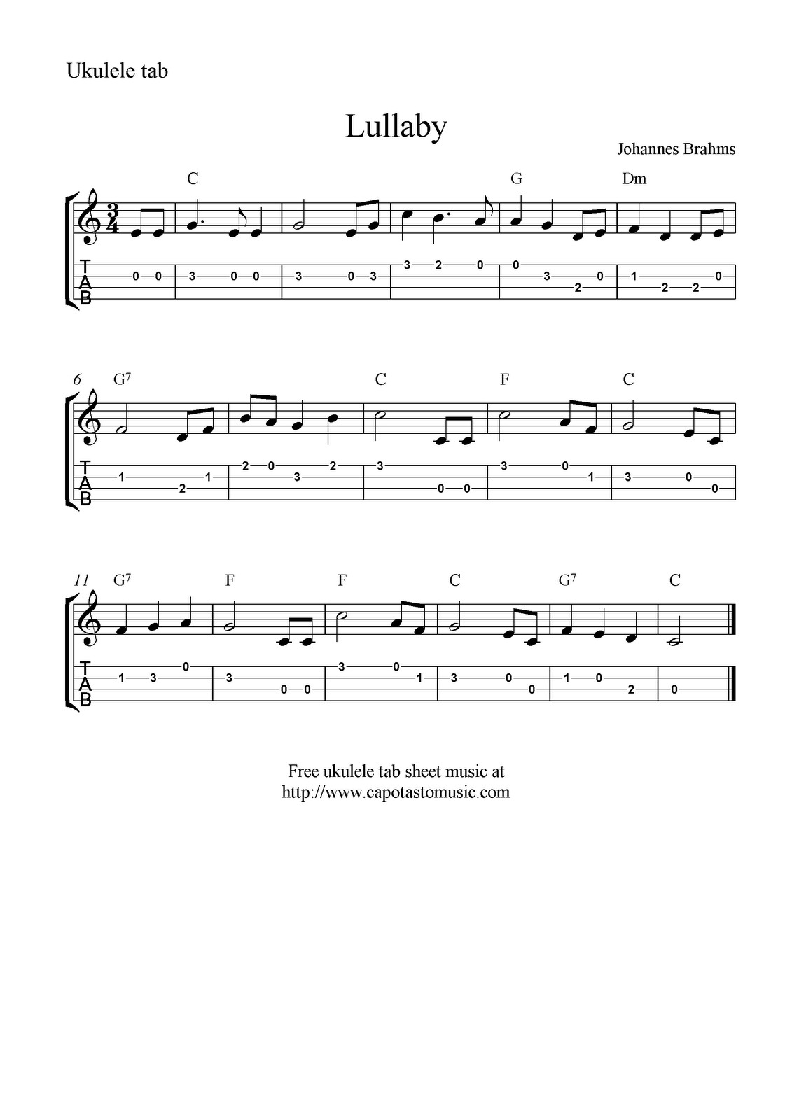 Lullaby By Brahms Ukulele Sheet Music Free Printable Ukulele