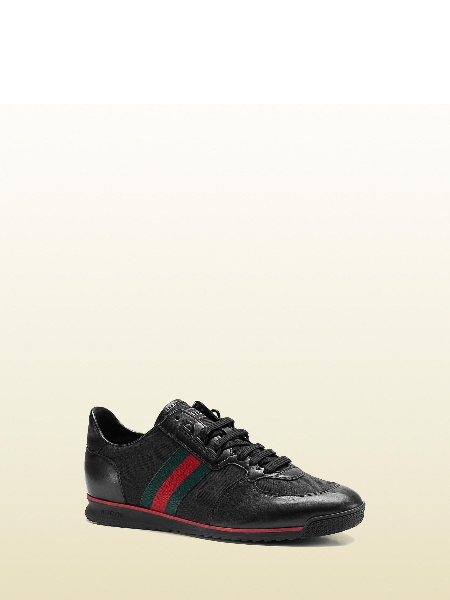 a526d5e211c Gucci - 237715 BDDX0 1060 - lace-up sneaker with signature web detail. -  black original GG fabric with black leather trim and green red green  signature ...