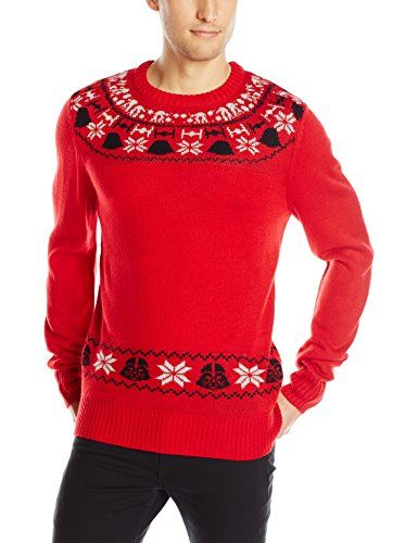 Star Wars Mens Curves Sweater Red Small ** Details can be found by