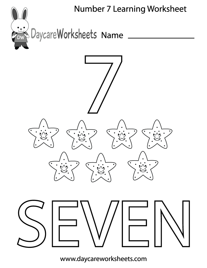This free printable worksheet helps preschoolers learn the number – Number 7 Worksheet