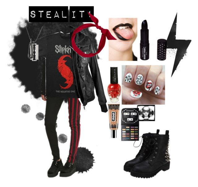 """""""steal it!"""" by rebel-babe ❤ liked on Polyvore featuring Tripp, One-T-Shirt, Nail Pop, yunotme, McQ by Alexander McQueen, Manic Panic and Kat Von D"""