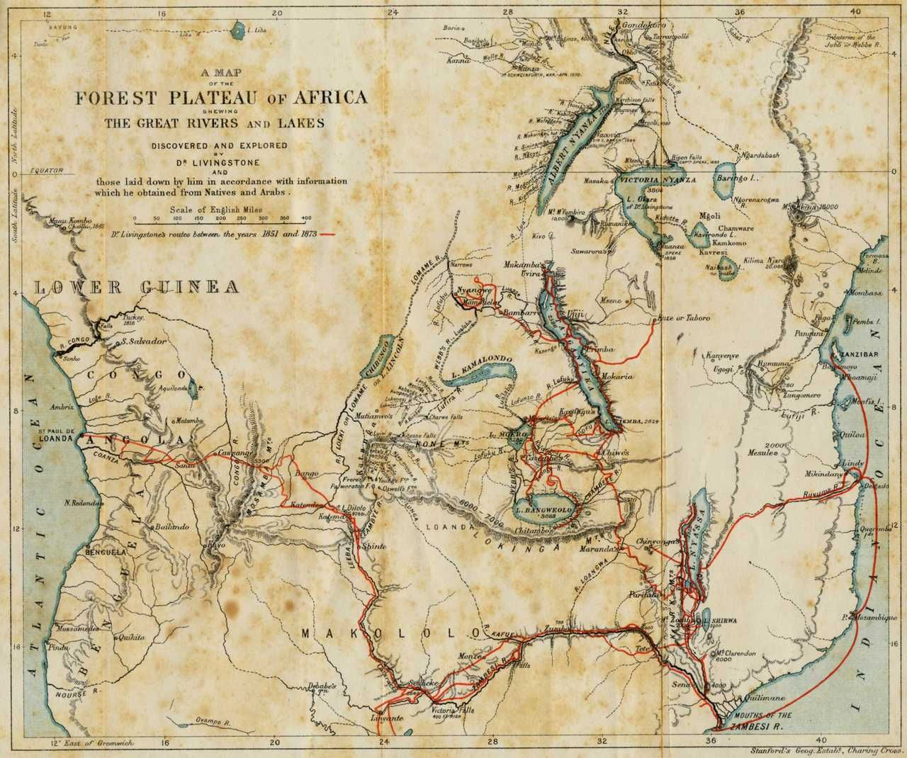 Map Of The Travels Of David Livingstone In Africa. Dr. Livingstone, I  Presume  Dr Livingstone I Presume Furniture