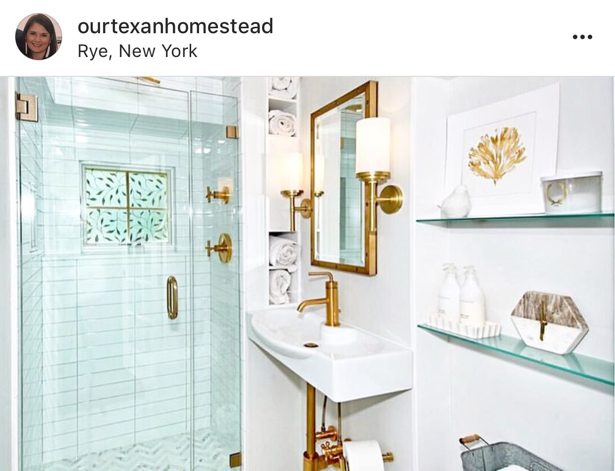 Shallow glass shelves with lighting above (behind tub & or btwn ...