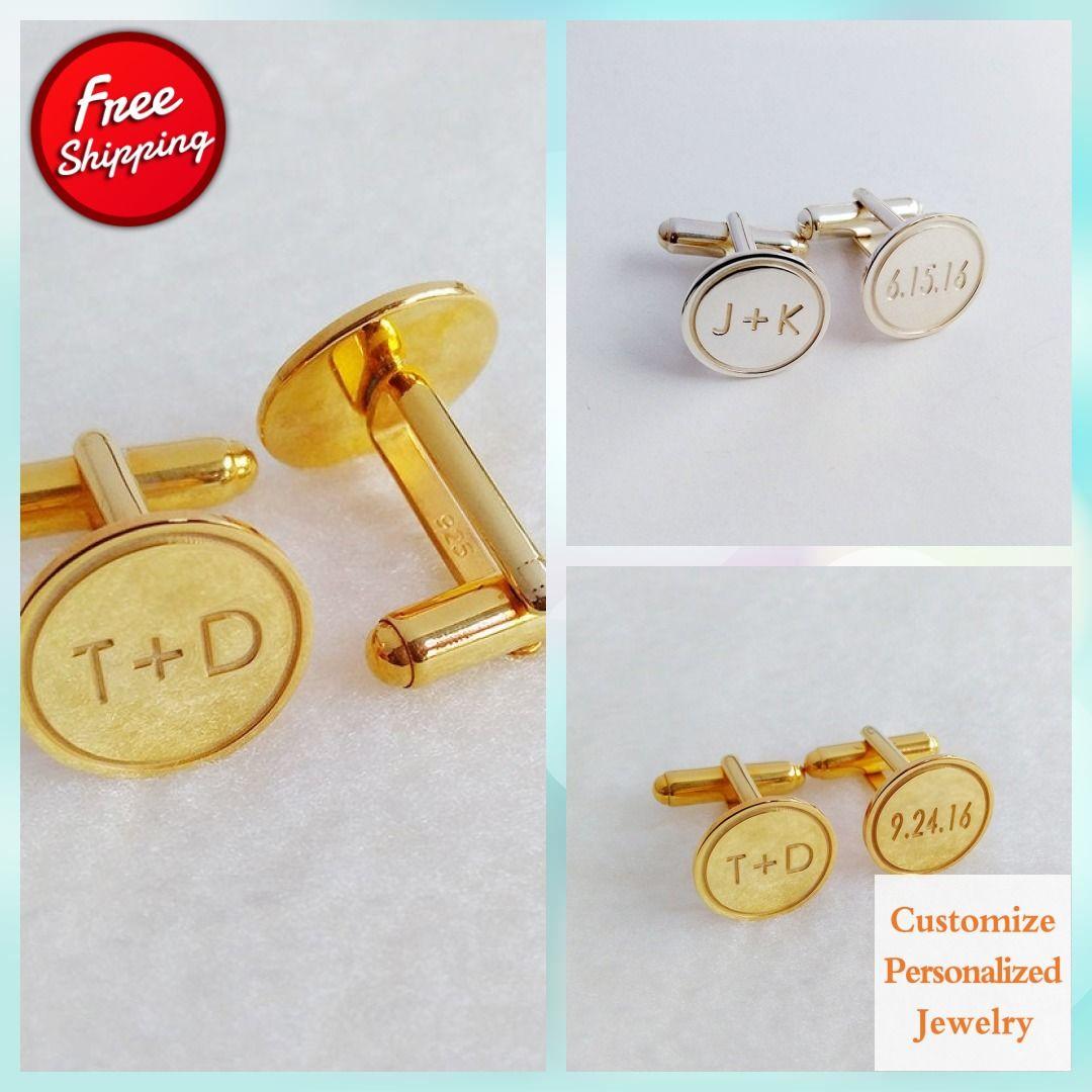 Personalized Wedding Cufflinks,Date and Initials Cufflinks,Groom Wedding Cufflinks,Engraved CuffLinks,Elegant Monogrammed Cufflinks
